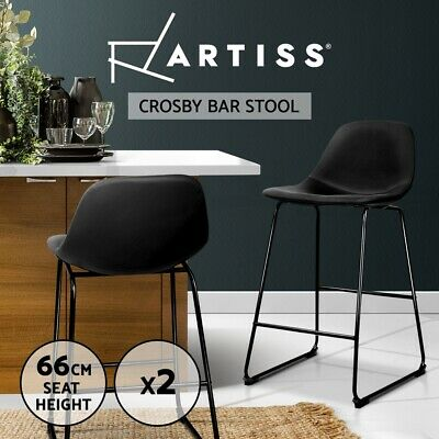 Artiss 2x Kitchen Bar Stools Metal Bar Stool Leather Dining Chairs Black