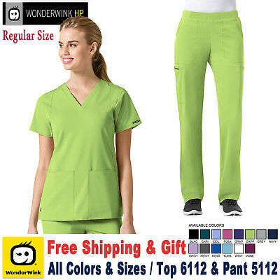 Wonderwink hp (XXS-XL) Damen Medizinisch Scrub Stretch Top & Hose Satz _ Regular