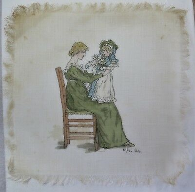 Victorian Silk Print after Kate Greenaway: Child on Mother's Knee