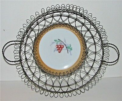 Ornate Victorian Wire Basket / Handles & Porcelain Luster Ware Currants Plate