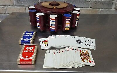 Vintage 1950's Poker Chip In Retractable Holder & 250+ Chips & 2 Decks