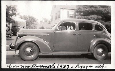 Vintage Photograph 1937 Plymouth Car Boston Terrier Dog Puppy Connecticut Photo