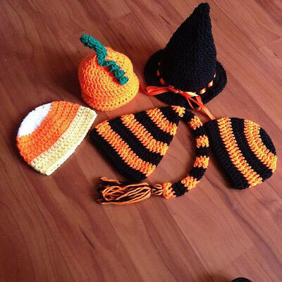 RTS! Handmade Crochet Newborn Baby FIVE pack Halloween Hats Unique Photography