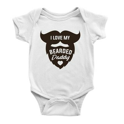Short Sleeve Baby Vests Funny Graphic Printed Bodysuits I LOVE MY BEARDED DADDY