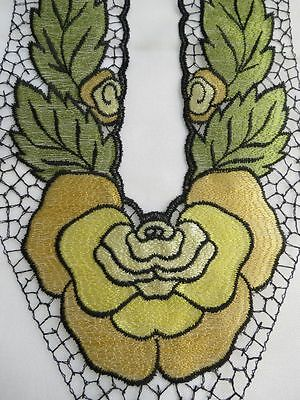 "12.5"" Vintage Dress Neckline Applique - ART DECO FLORAL Flower yellow green NOS"