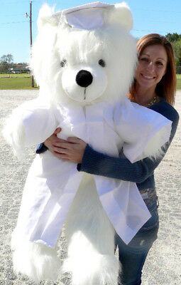 Giant White Teddy Bear 45 Inch Soft Wears Removable White Graduation Gown & Cap