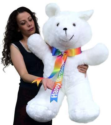 Giant Teddy Bear 36 Inches Soft, Happy Birthday Neck Ribbon, Made in USA America