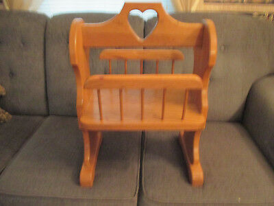 Vintage Furniture - Oak Storage / Magazine Rack with Handle - Made in USA