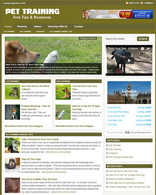 PETS TRAINING - Responsive Niche Website Business For Sale - Free Installation