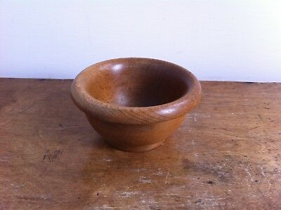 NICE OLD SMALL DECORATIVE WOODEN CASH / WOOL BOWL 5.5 inches