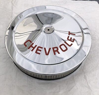 Chrome Air Cleaner Chevrolet RED LOGO Silk Screen NOT A DECAL 14x3 Holley Carb N