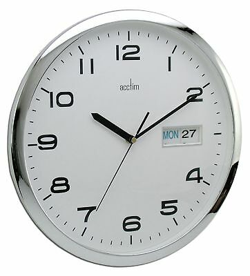 21027 Supervisor Day/Date Wall Clock, White