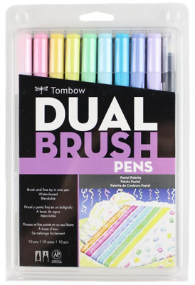 Tombow Dual Brush Pen Art Markers, Pastel 10-Pack, Brand New Sealed Pack!