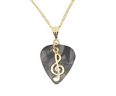 Grey Guitar Pick With Treble Clef On Gold Plated Chain Necklace Gift Idea