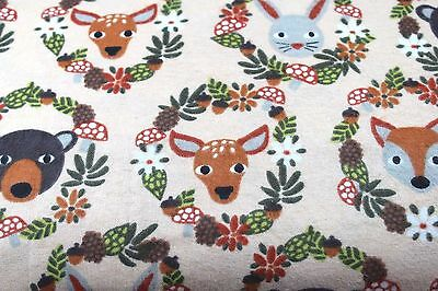 Animal Wreaths Deer Bunny Bear Flannel Fabric 100% Cotton Sewing Quilting 1 Yard