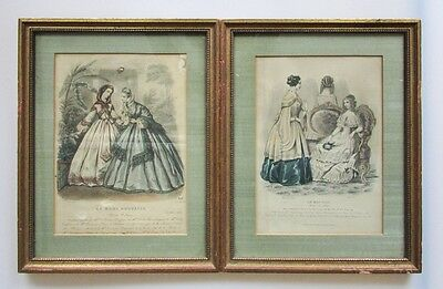 A Pair of Antique French Hand-Colored Fashion Plate Prints 19th Century Framed