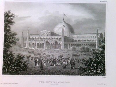 Original Stahlstich / Steel engraved print, Crystal Palace, New York. Crystal Pa