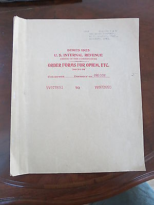 1923 US IRS Order Forms Opium Oregon Coca Leaves MFG Early Drug Heroin Narcotic