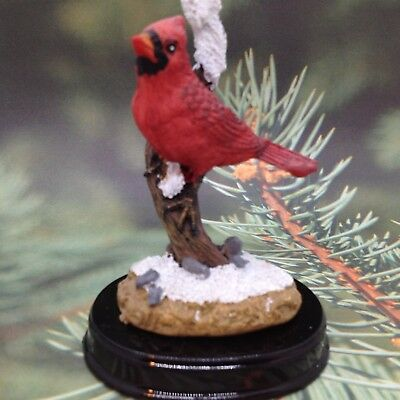 Red CARDINAL BIRD FIGURINE  Snow Branch Miniature Mini Bird Gift Decor