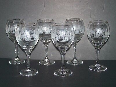 6  Arby's Winter Scene Holiday Wine Round Goblet  Glasses with Gold Rims