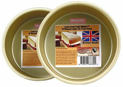 6 Inch Deep Round Cake Tins, Twin Pack, Fixed Base, 15cm, British Made with Gold