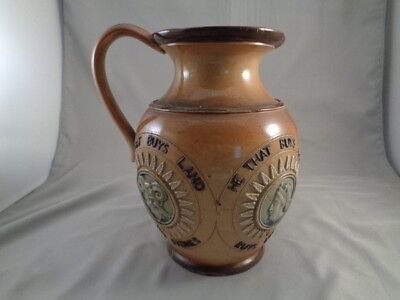 Antique 1800's Royal Doulton Lambeth Stoneware Pitcher- Blue Cameo's