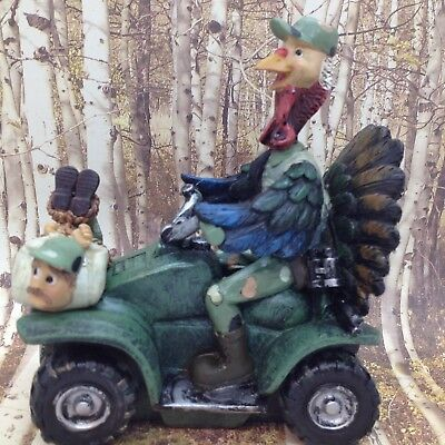 TURKEY on Quad Bags HUNTER FIGURINE Funny Cabin Lodge Men's Trippies Gift Decor