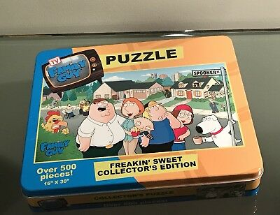 """Fox Family Guy Freakin' Sweet Collector's Edition Puzzle Tin 500 pieces 16""""x 30"""""""