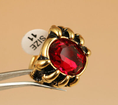 fashion Copper Plating 18K Gold Skull inlay Red Zircon Head Statue Ring Gift