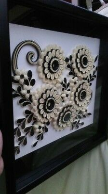 Handmade Flower Quilled Wall Art Home Decor With Frame