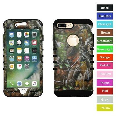 For iPhone 8+ Plus Camo Mossy Oak Hybrid Hard&Rubber ShockProof Armor Case Cover