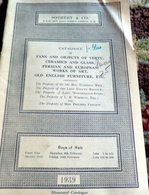 1939 FANS ENGLISH FURNITURE CERAMICS PERSIAN ART Sotheby London Auction Catalog