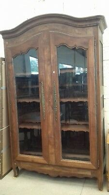 ANCIENT HUGE ANTIQUE 18THC FRENCH 8ft TALL BOOKCASE/CUPBOARD GLASS DOOR ARMOIRE