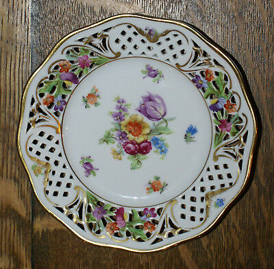 7 Schumann Bone China Reticulated US Zone Germany Dresden Flowers Bread Plates