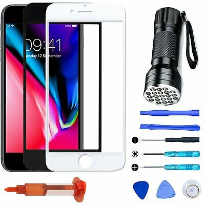 For iPhone 8 8 Plus OEM Replacement Front Screen Glass Lens Tools UV Light Kit