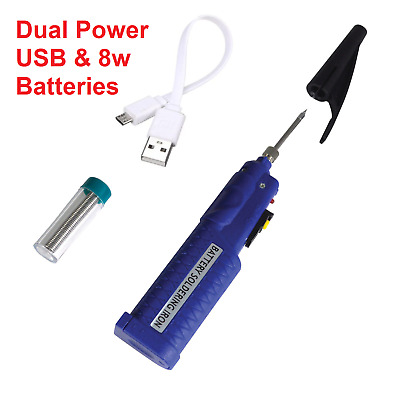 8W Dual Battery Powered Soldering Iron with Solder Cordless Portable