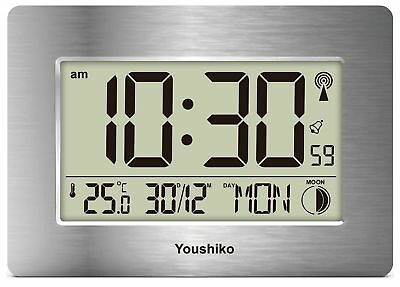 Radio Controlled LCD Wall Mountable and Desk Silent Clock  UK   Ireland Version