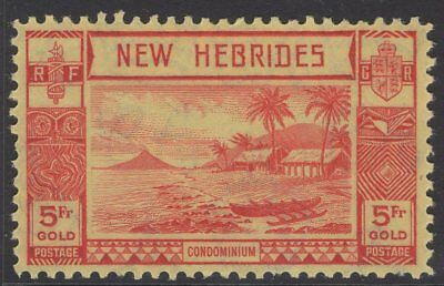NEW HEBRIDES SG62 1938 5f RED/YELLOW MTD MINT