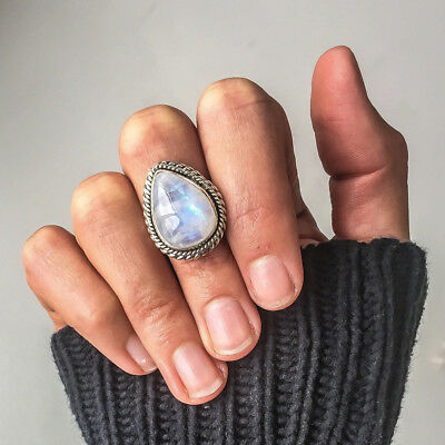Silver Tone Tibetan Moonstone Vintage Rock Punk Oval Wedding Engagement Ring Z