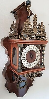 Warmink Zaanse Clock Case Dutch Nut Wood With Original Bell And Atlas Man