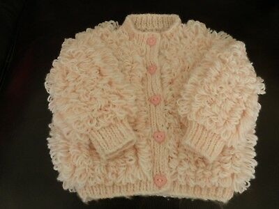 Baby Loopy Cardigan in Pink/White 6 - 12 months