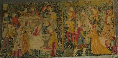 "Vintage  long tapestry "" vendanges "" grape harvest ."