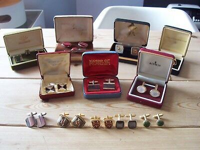 Mixed Job Lot Collection Of Mens Cufflinks Various Including Vintage X 12