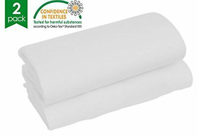 - Twin Pack - 100% Pure Cotton - Soft Jersey Fitted Sheets - Cot - White - 60 Cm