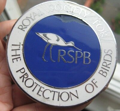 RSPB ROYAL SOCIETY FOR THE PROTECTION OF BIRDS vintage metal enamel CAR BADGE