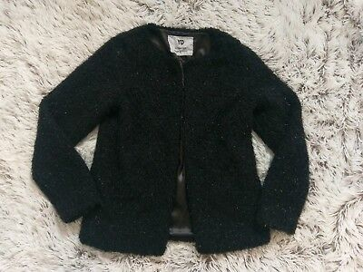 STUNNING 12 13 years sparkle fluffy fur PARTY JACKET Autumn COAT CROP