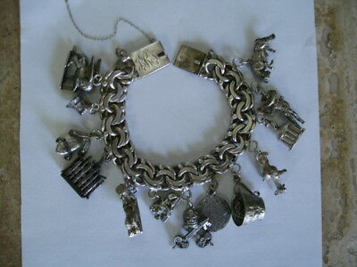 Vintage Sterling Silver Mexican Charm Bracelet Travel Charms Heavy 132 Grams