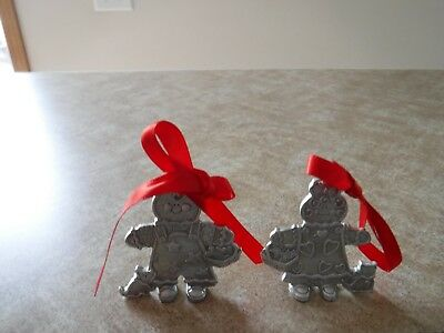2000 Longaberger Roger & Ginger with kitten Gingerbread Pewter Ornaments