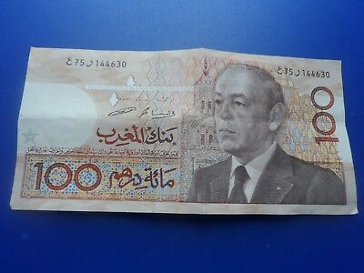 100 Dirhams Banknote Of Morocco .used But Good.