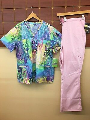 NEW Pink Print Scrubs Set With BIO 2XL Top & Wink 2XL Tall Pants NWT